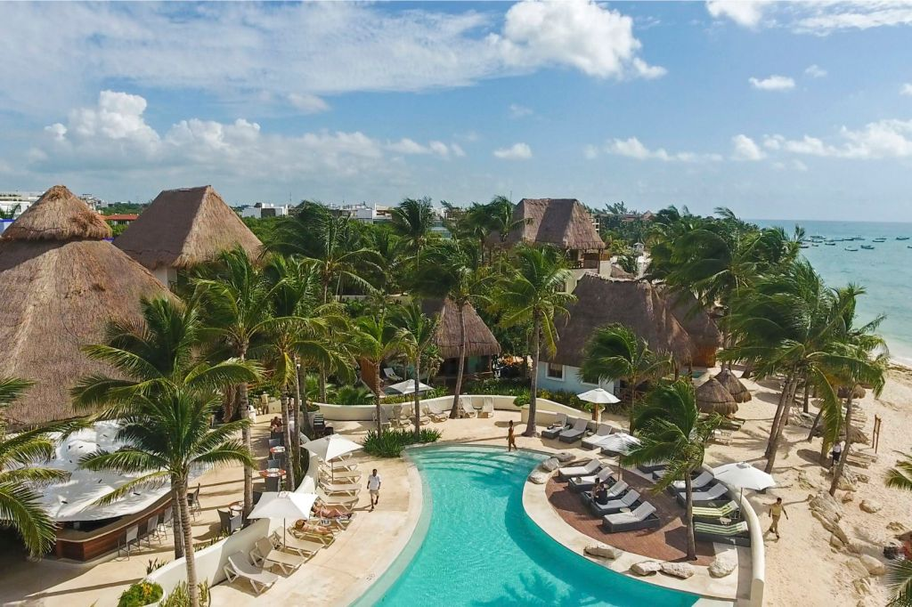 aerial view of the hotel thatched roofs nestled between palm trees next to the pool